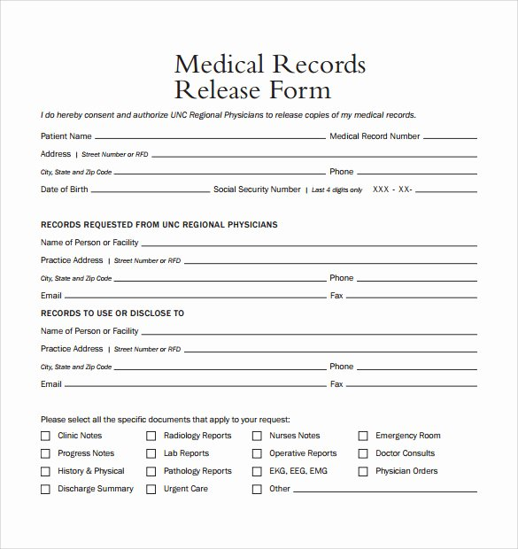 Free Printable Medical Release form Fresh Medical Release form
