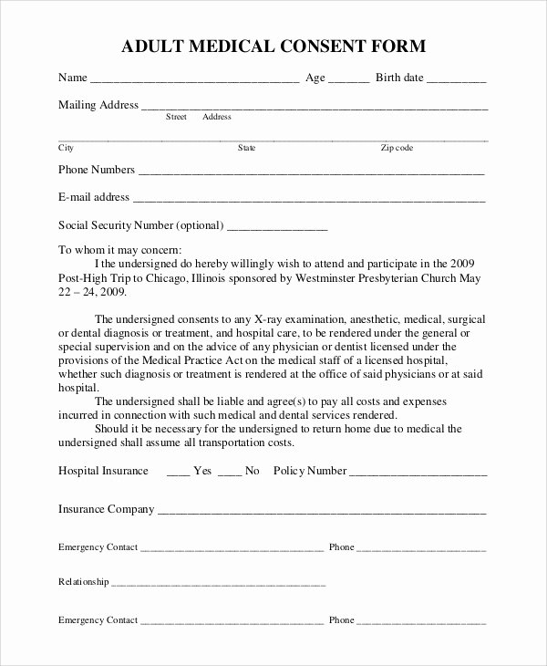 Free Printable Medical Release form Inspirational Sample Medical Consent form 9 Examples In Pdf Word