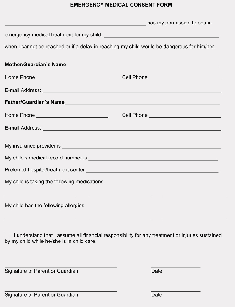 Free Printable Medical Release form Lovely Free Medical Consent forms for Minor Child – Word