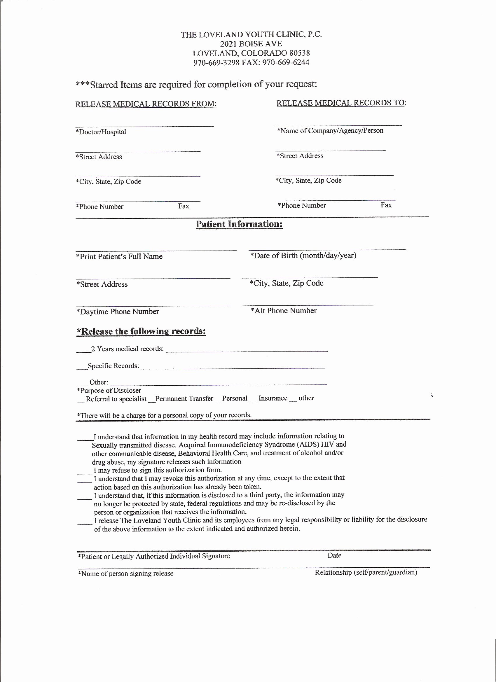 medical records release form 3579