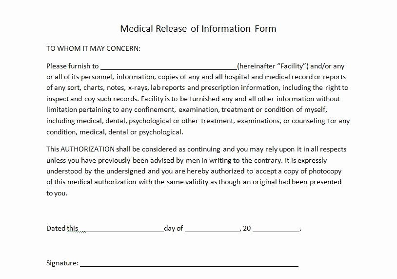 Free Printable Medical Release form Lovely Medical Release Of Information for Personal Trainers