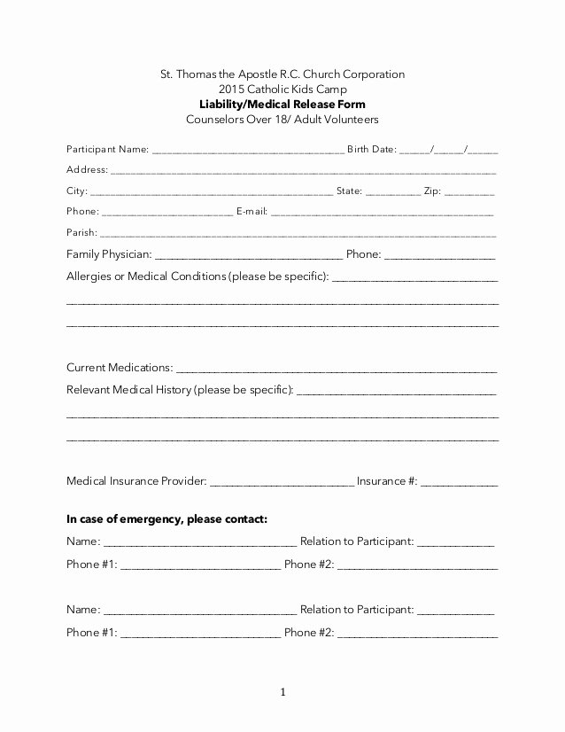 Free Printable Medical Release form Luxury 18 and Older Adult Liability Medical Release form
