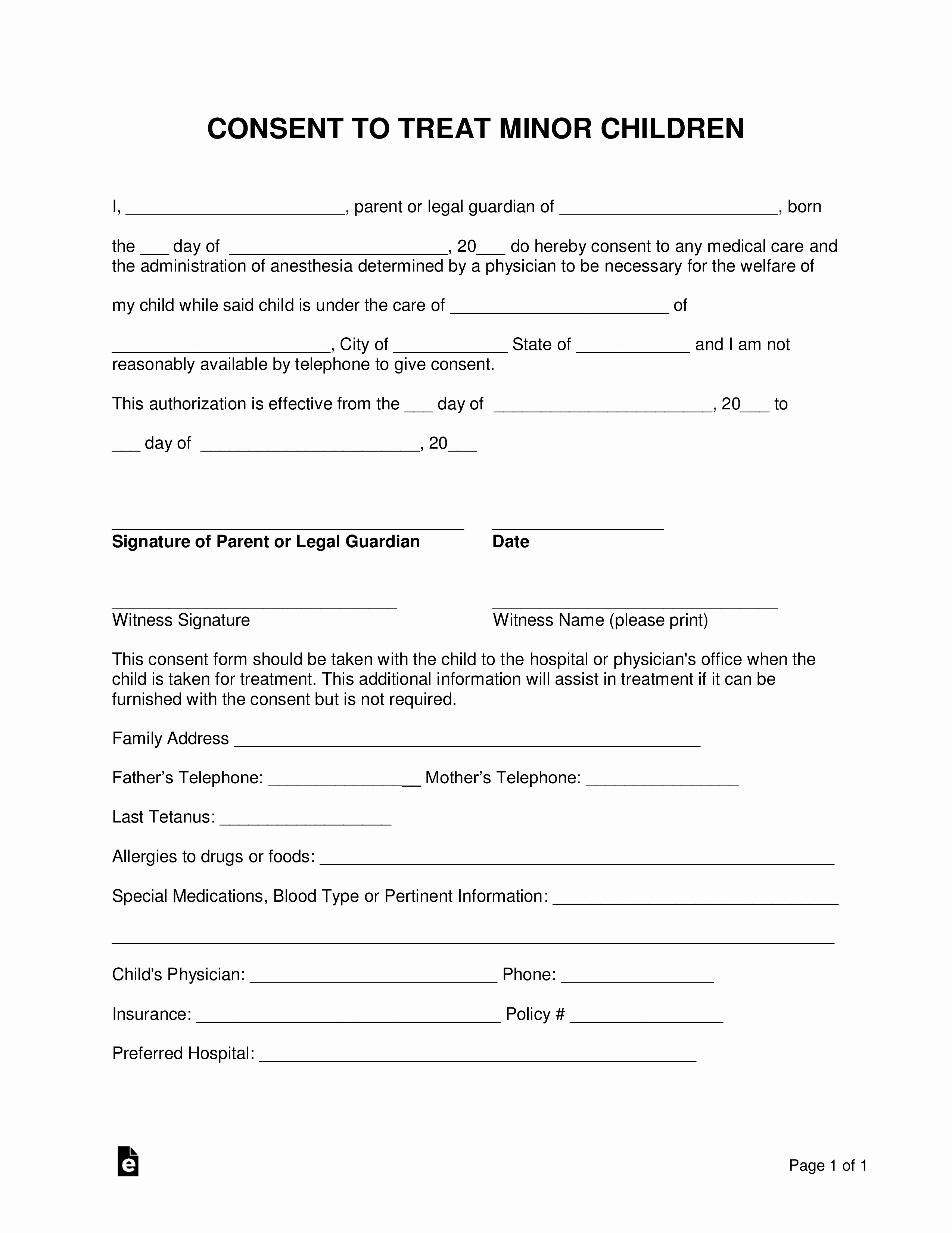 Free Printable Medical Release form Unique Free Minor Child Medical Consent form Word