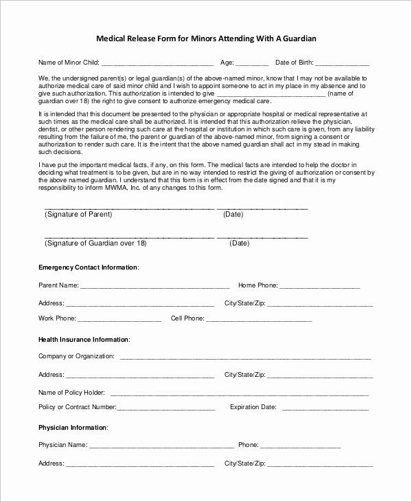 Free Printable Medical Release form Unique Sample Medical Release form 9 Examples In Pdf