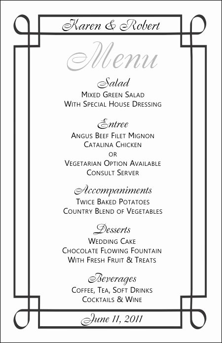 Free Printable Menu Templates Awesome Wedding Menu Templates