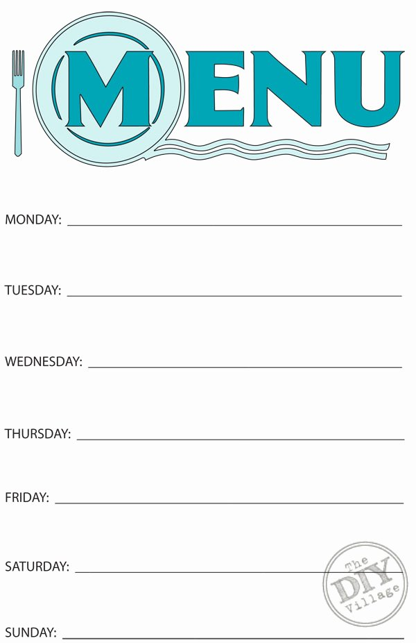 Free Printable Menu Templates Beautiful Free Printable Weekly Menu Planner the Diy Village