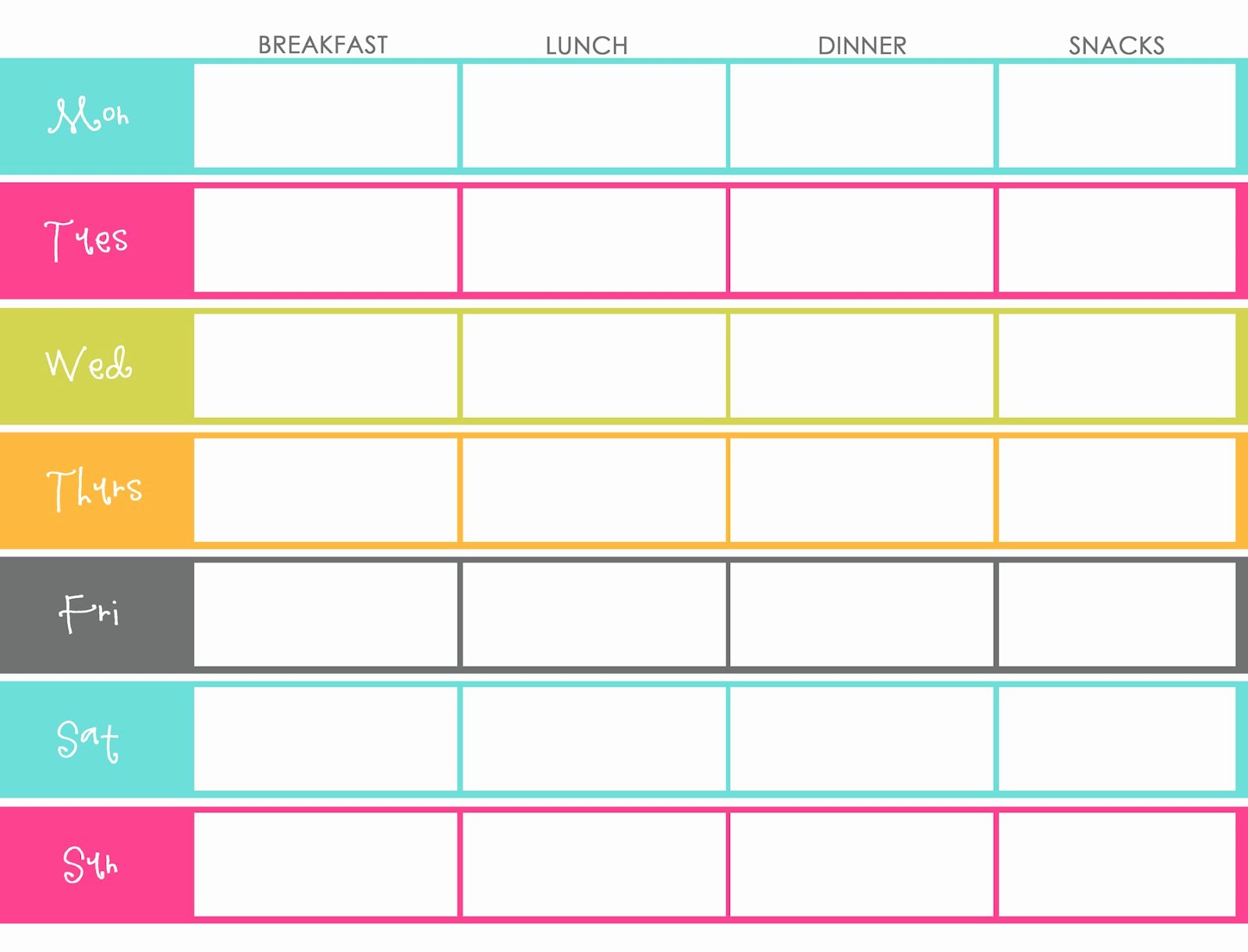 Free Printable Menu Templates Beautiful Little Housewife Meal Planning