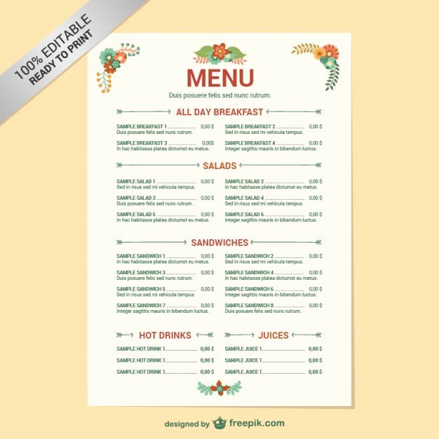 Free Printable Menu Templates Elegant Editable Restaurant Menu Template Vector