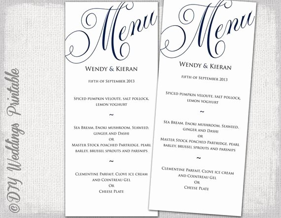 Free Printable Menu Templates Elegant Wedding Menu Template Navy Blue Wedding Menu Diy Wedding Menu
