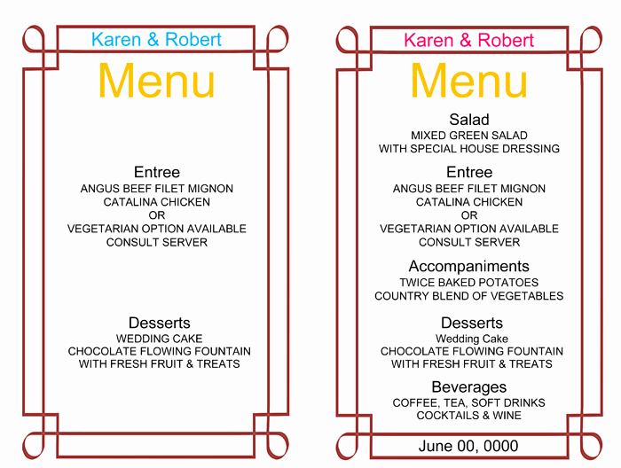 Free Printable Menu Templates Fresh Wedding Menu Template 5 Free Printable Menu Cards