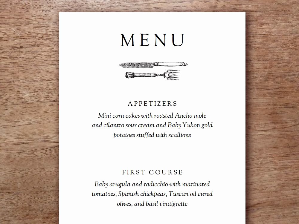 Free Printable Menu Templates Inspirational Printable Menu Kate & Wills
