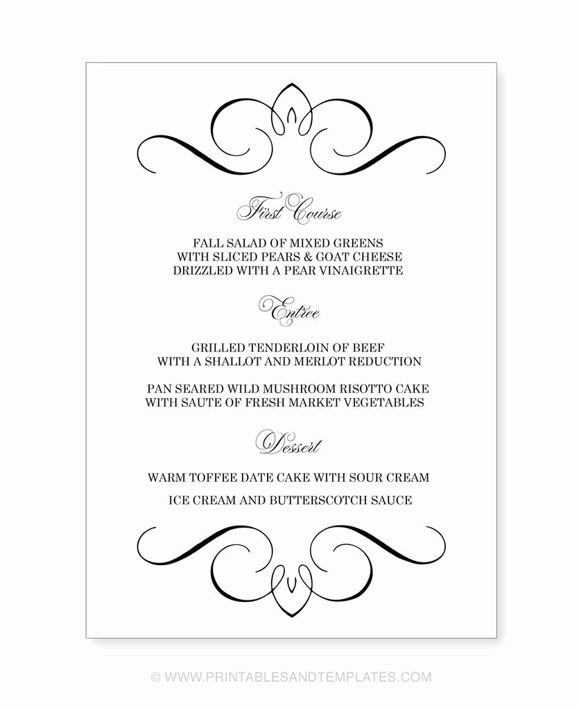 Free Printable Menu Templates Lovely Free Printable Wedding Menu Templates