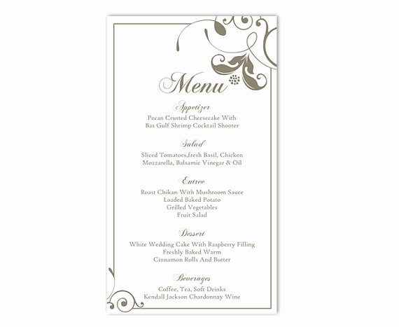 Free Printable Menu Templates Lovely Wedding Menu Template Diy Menu Card Template Editable Text