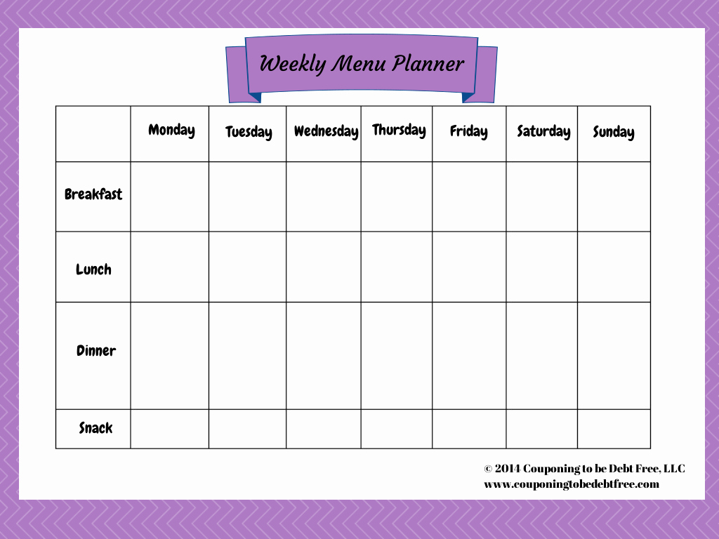 Free Printable Menu Templates Lovely Weekly Menu Planner Printable