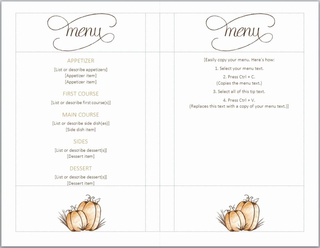 Free Printable Menu Templates Luxury Free Thanksgiving Menu Template