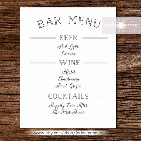Free Printable Menu Templates New 24 Bar Menu Templates – Free Sample Example format