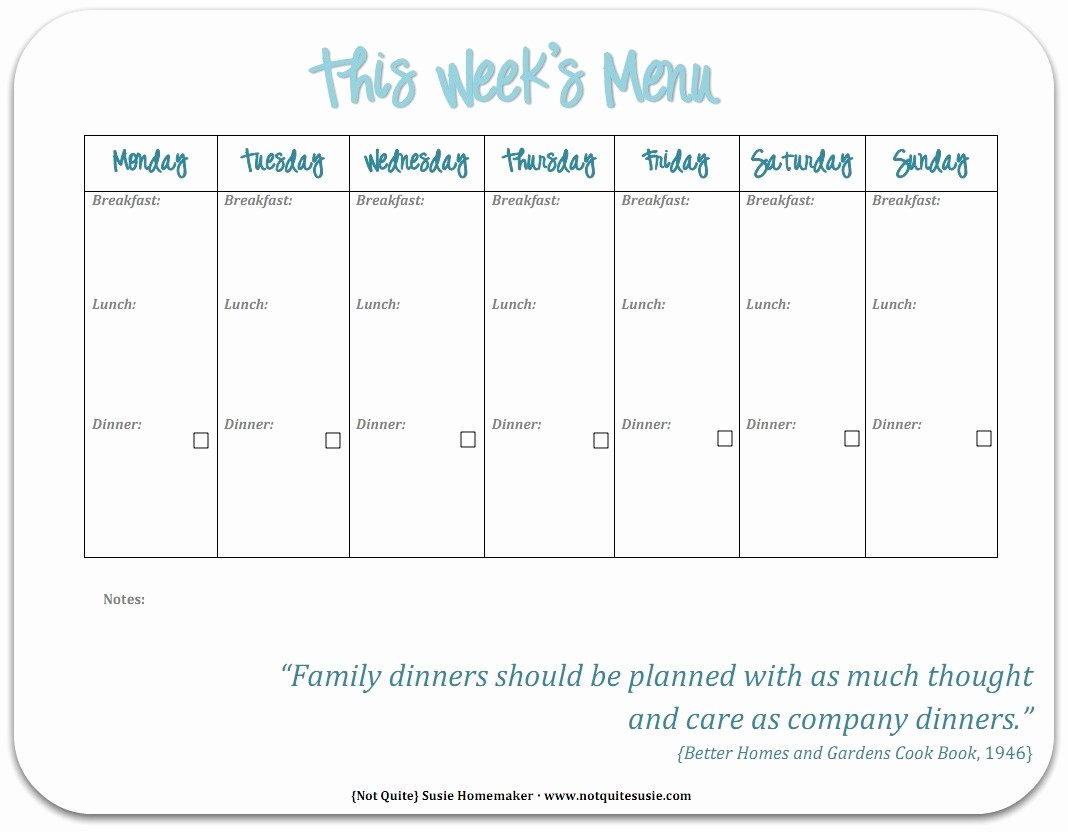 Free Printable Menu Templates New Free Printable Weekly Meal Planner Not Quite Susie