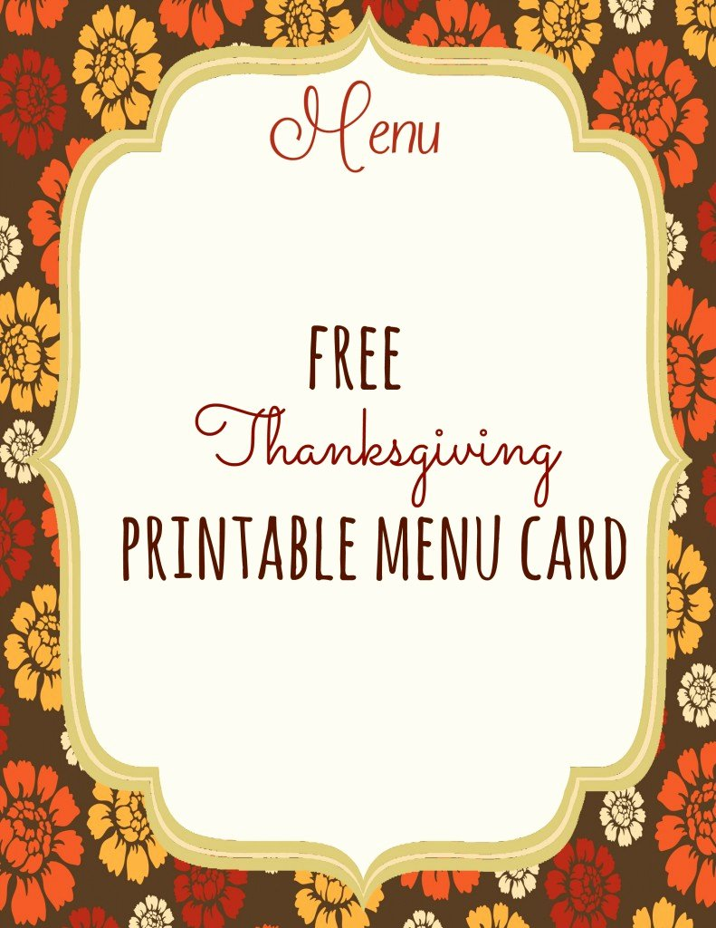 Free Printable Menu Templates New Free Thanksgiving Printables Frugal Fanatic