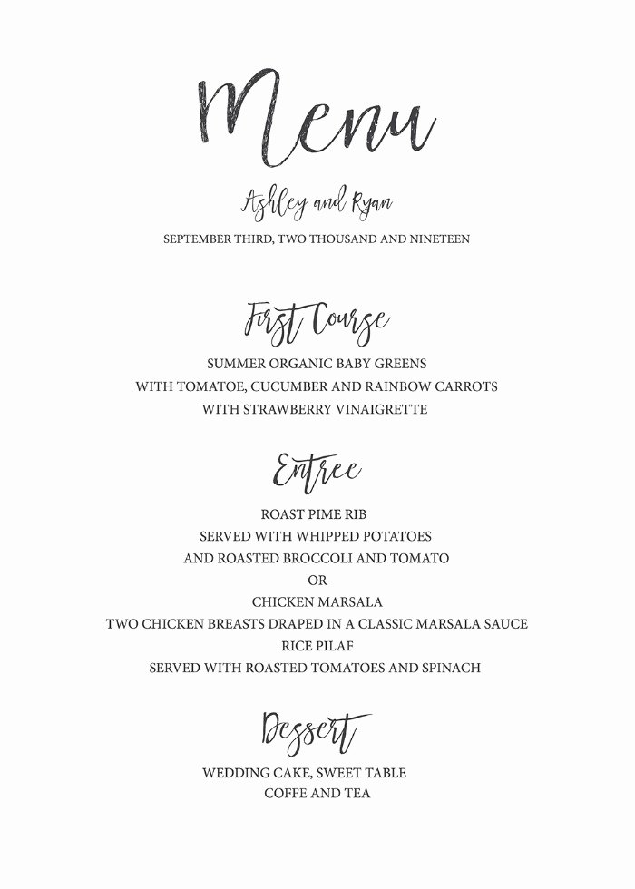 Free Printable Menu Templates New Print Timeless and Simple Free Printable Wedding Menu