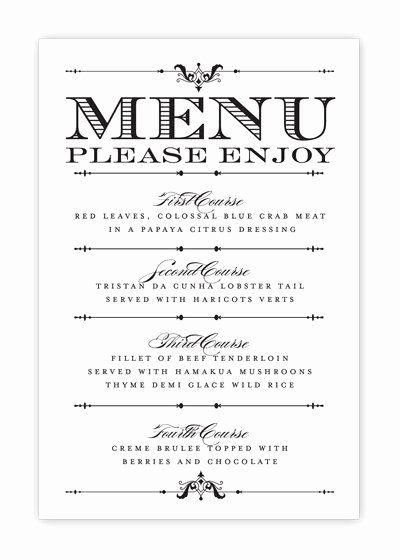 Free Printable Menu Templates New Wedding Menu Card Printable Diy by Hesawsparks On Etsy