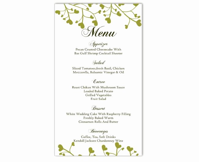 Free Printable Menu Templates New Wedding Menu Template Diy Menu Card Template Editable Text
