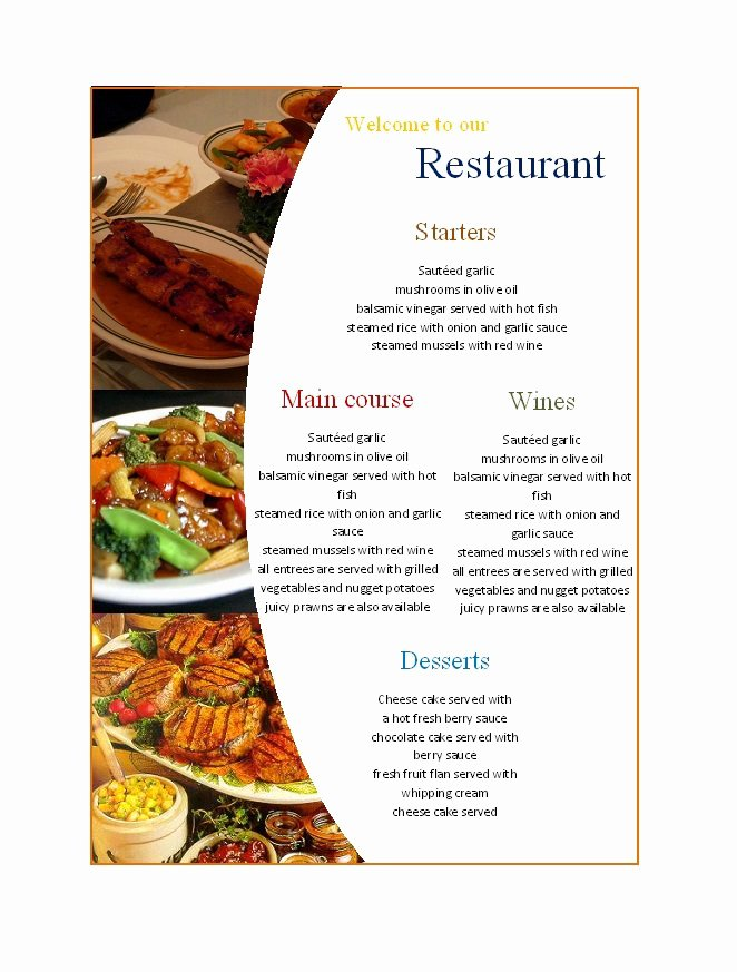 Free Printable Menu Templates Unique 31 Free Restaurant Menu Templates & Designs Free