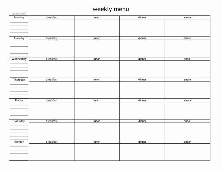 Free Printable Menu Templates Unique Blank Weekly Menu Planner Template