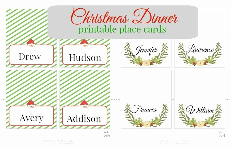 Free Printable Place Cards Inspirational Free Christmas Printable Place Cards Pinkwhen