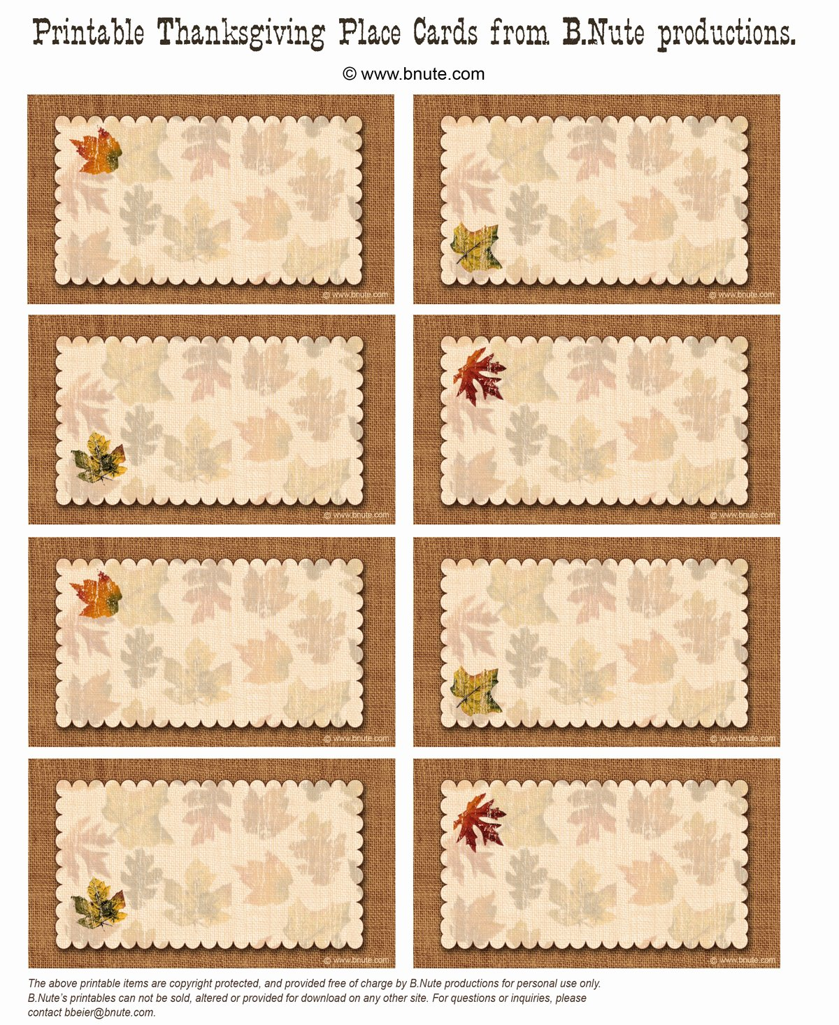 Free Printable Place Cards Luxury Bnute Productions Free Printable Autumn Place Cards