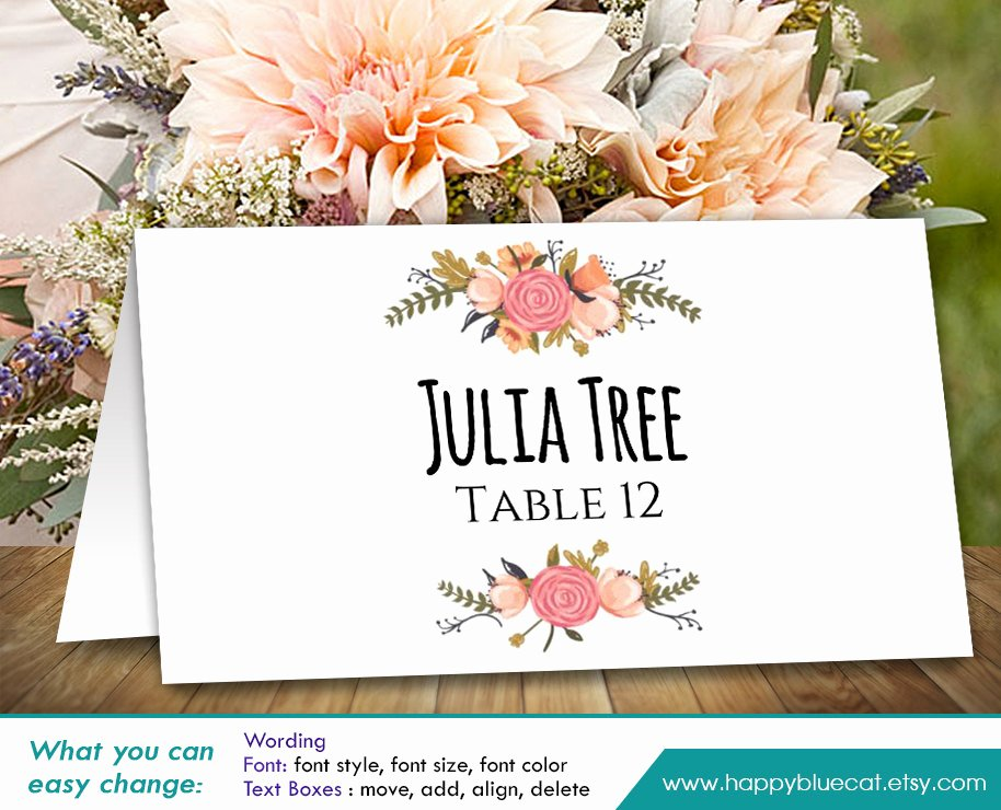 Free Printable Place Cards Unique Diy Printable Wedding Place Card Template Instant Download