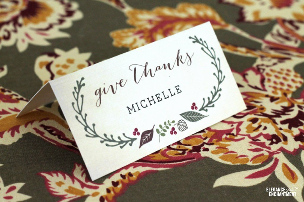 Free Printable Place Cards Unique Free Printable Thanksgiving Place Cards