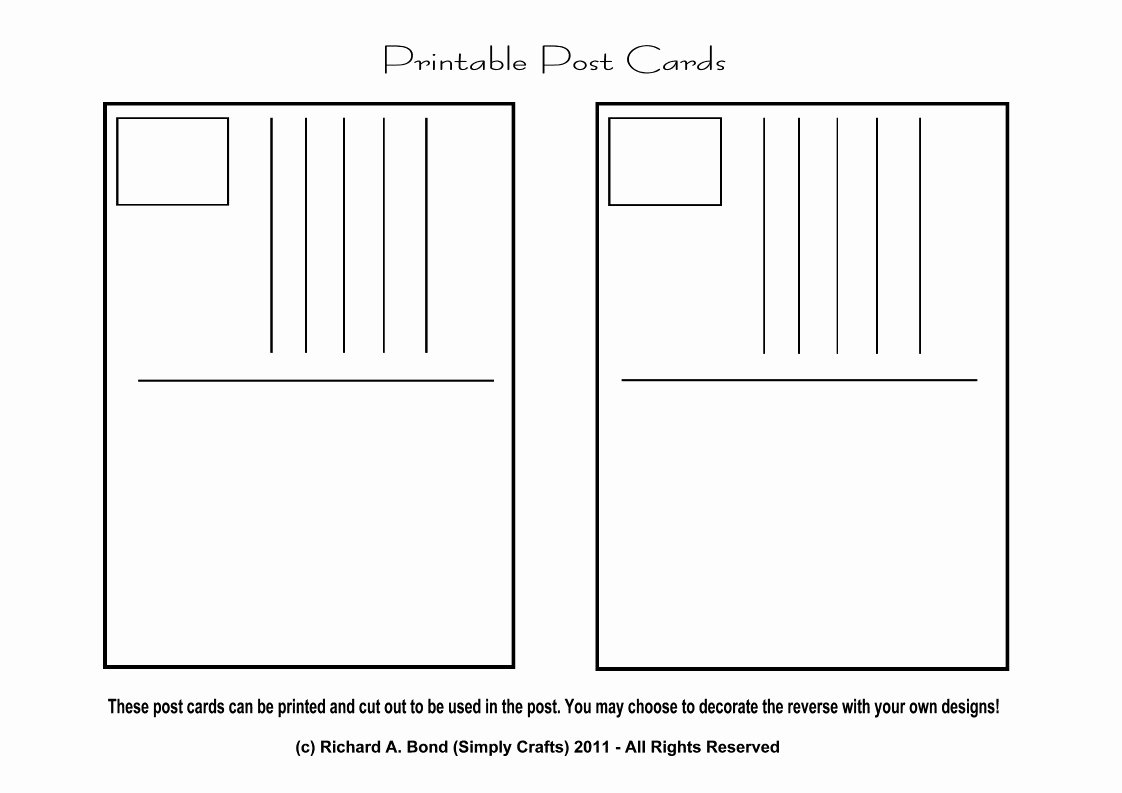 Free Printable Postcard Templates Awesome Draw Your Own Postcard Crafts – Free