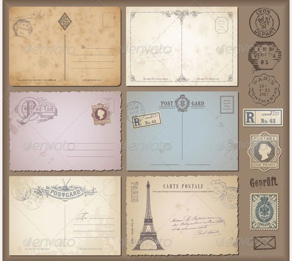 Free Printable Postcard Templates Elegant 35 Best Vintage Postcard Design Templates for