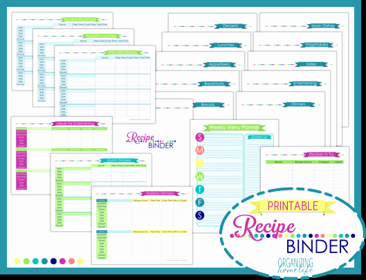 Free Printable Recipe Pages Awesome Recipe Binder Printable Kit organizing Homelife