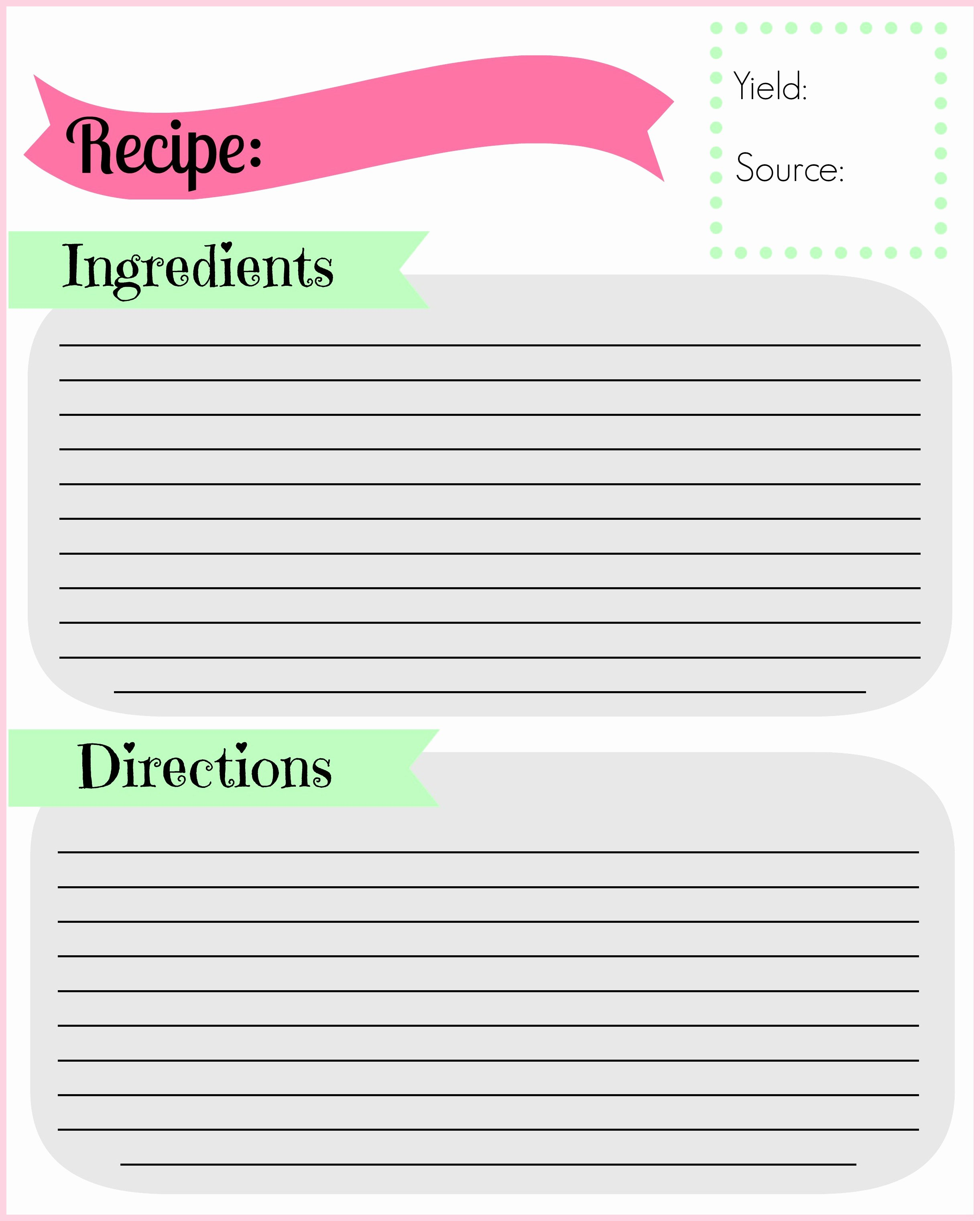 Free Printable Recipe Pages Lovely Diy Recipe Binder