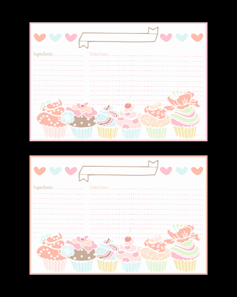 Free Printable Recipe Pages New Cupcake Recipe Cards and More All Free the Cottage Market