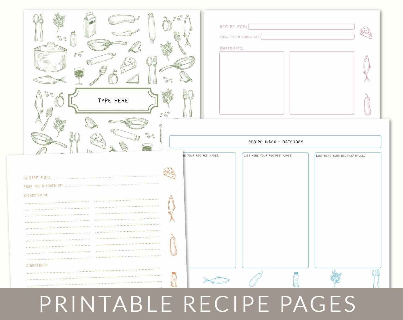 Free Printable Recipe Pages Unique Diy Custom Recipe Binder Cookbook Printable Pages 40