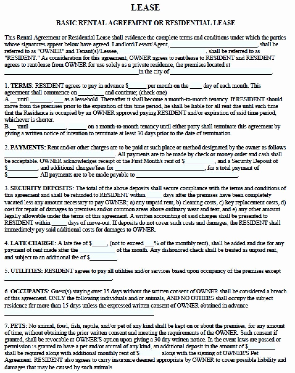 Free Printable Rental Agreement Elegant Free Residential Lease Agreements Pdf and Word Templates