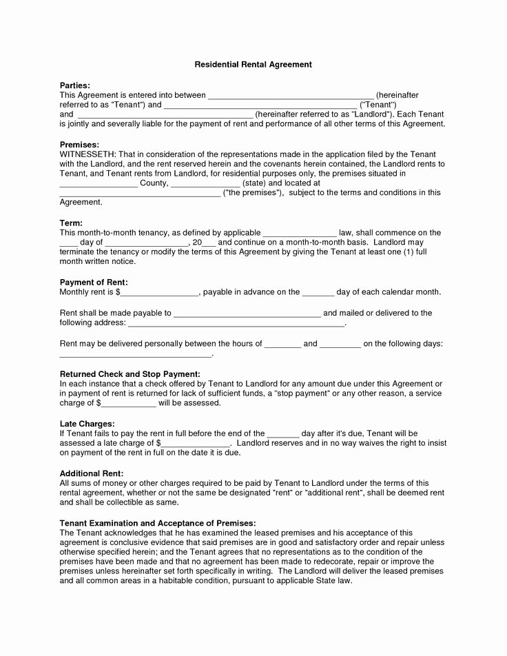 Free Printable Rental Agreement Unique Free Copy Rental Lease Agreement