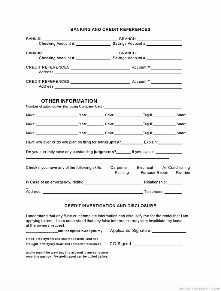 Free Printable Rental Agreement Unique Printable Tenant Rental Application Template 2015