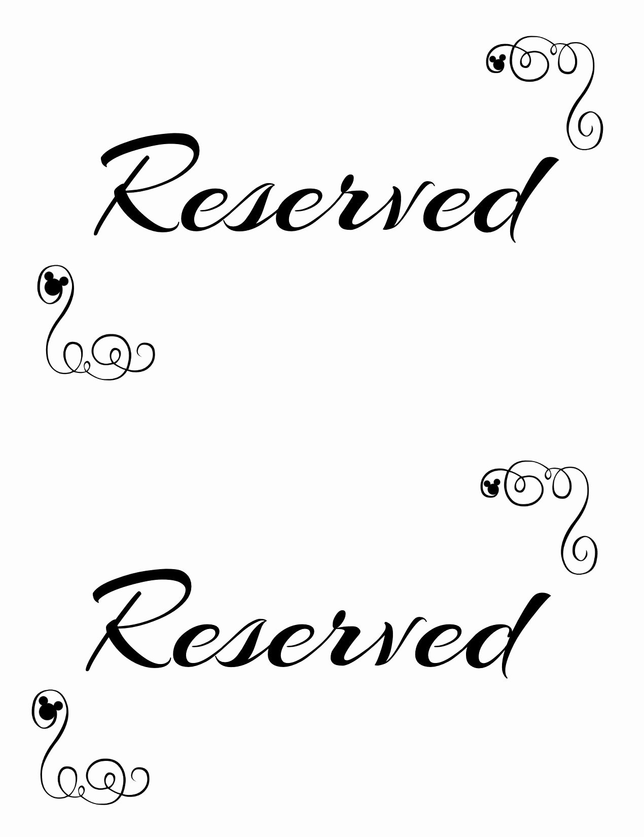 Free Printable Sign Templates Inspirational Free Printable Reserved Seating Signs for Your Wedding