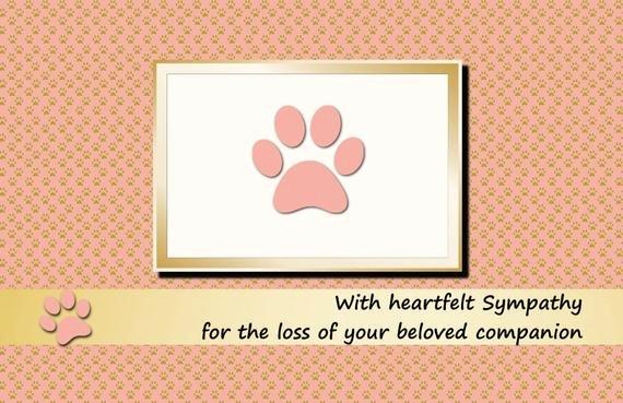Free Printable Sympathy Cards New Items Similar to Printable Pet Sympathy Card Dog Cat Pink