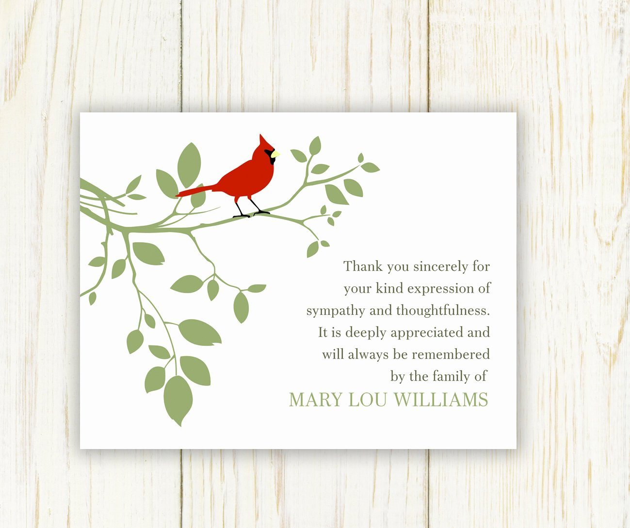 Free Printable Sympathy Cards New Red Bird Funeral Thank You Card Digital Sympathy Card