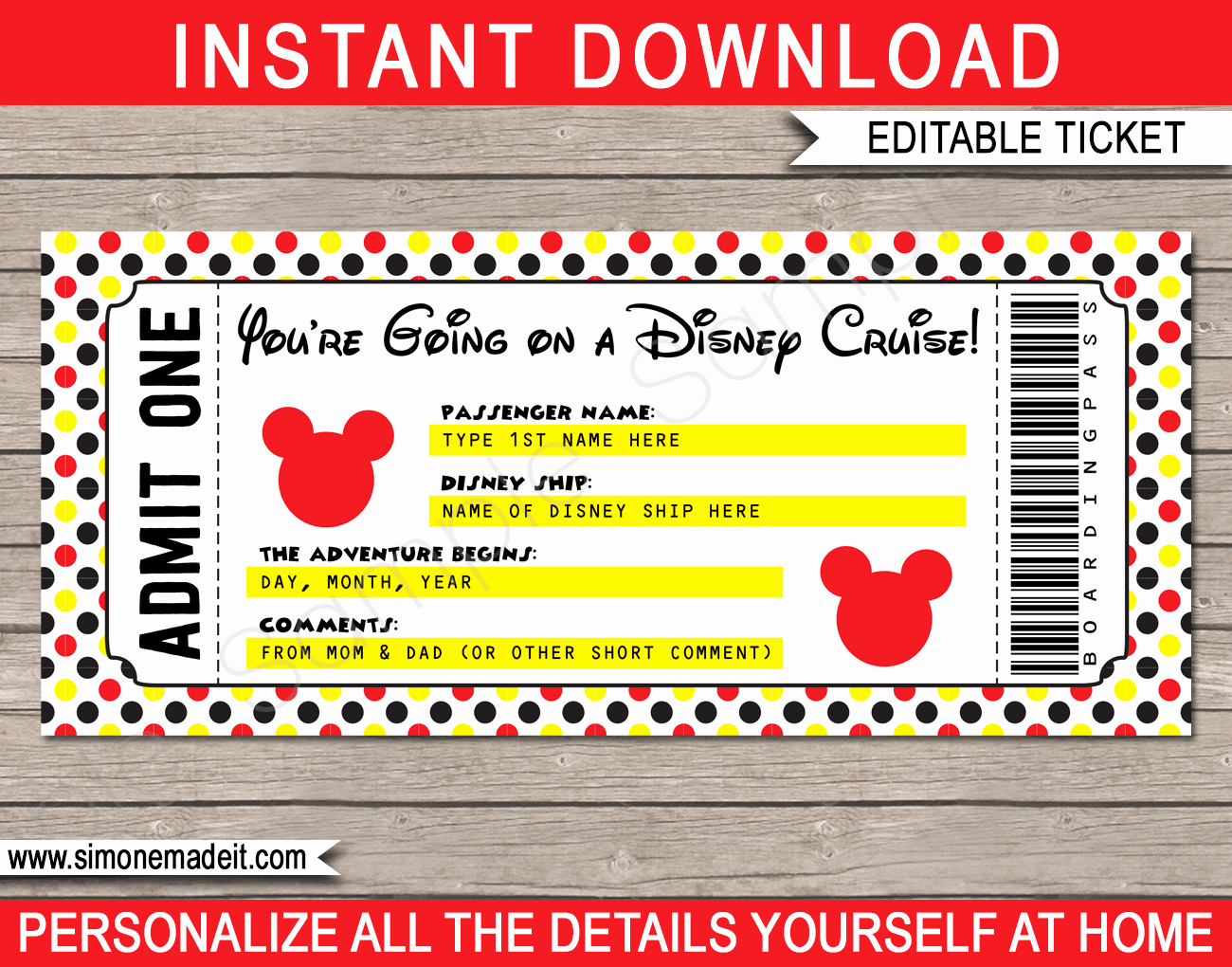 Free Printable Tickets Template Awesome Printable Disney Cruise Ticket