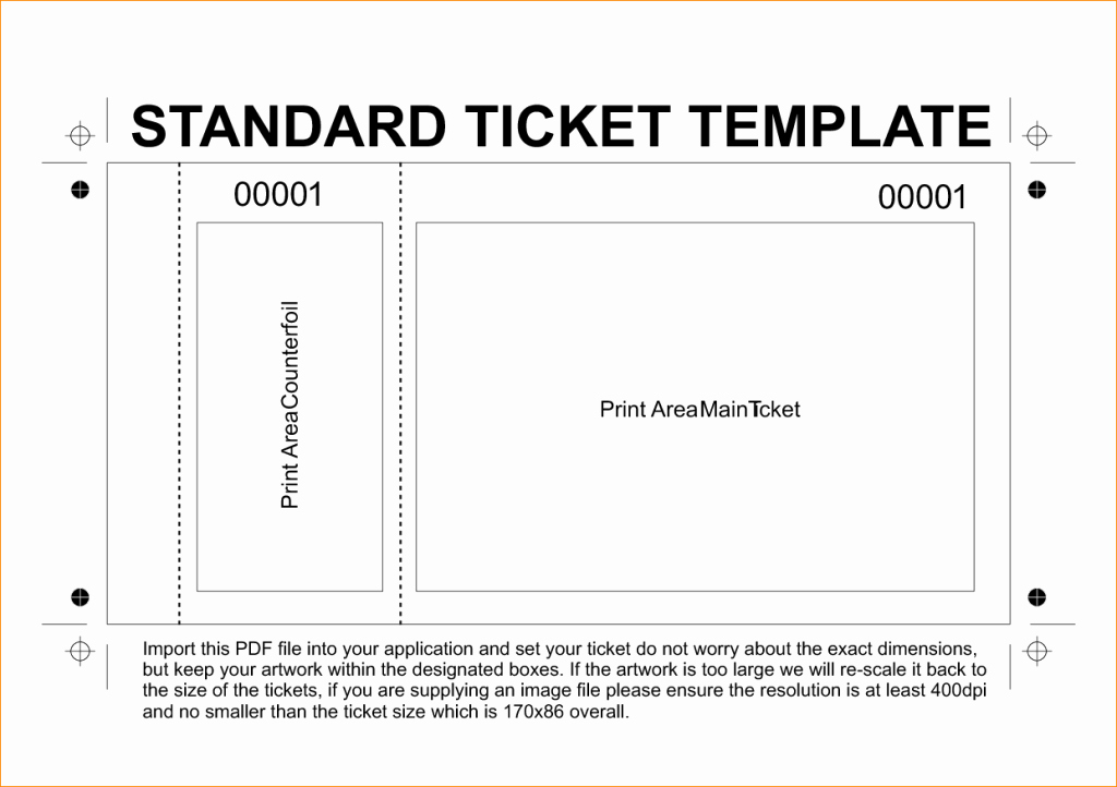 Free Printable Tickets Template Beautiful Excellent Standard Ticket Template Example with Editable