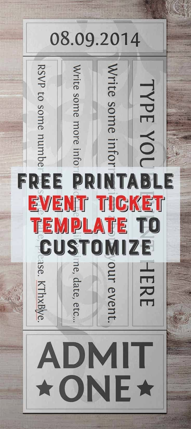 Free Printable Tickets Template Best Of Free Printable event Ticket Template to Customize