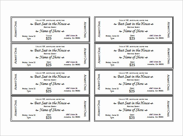Free Printable Tickets Template Best Of Ticket Templates – 99 Free Word Excel Pdf Psd Eps