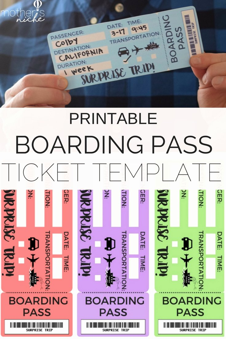 Free Printable Tickets Template New Printable Tickets Template Boarding Passes for Surprise
