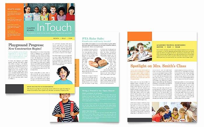 Free Publisher Newsletter Templates Luxury Charter School Newsletter Template Word & Publisher