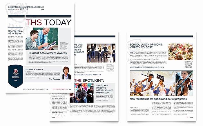 Free Publisher Newsletter Templates Unique High School Newsletter Template Word & Publisher